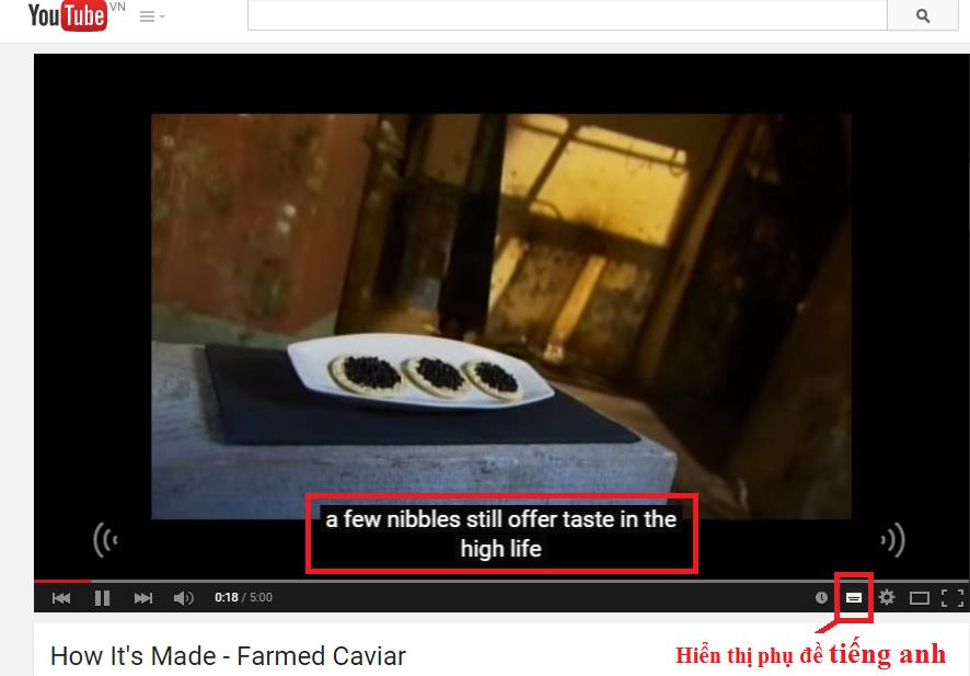 Phụ đề tiếng Anh cho video trên Youtube